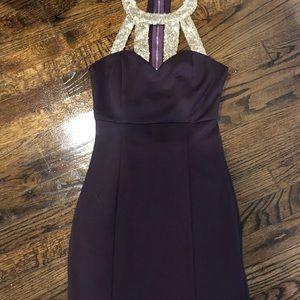 Tobi - Purple/Gold fitted dress